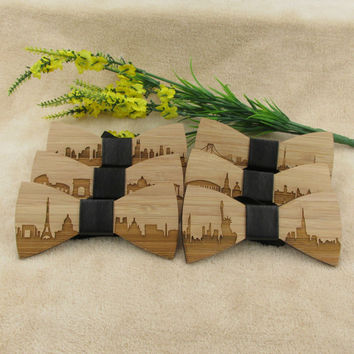 Gravata Wedding Bow Tie Wooden Butterfly City Skyline For Men's Suit Shirt Necktie Jewerly Accessory