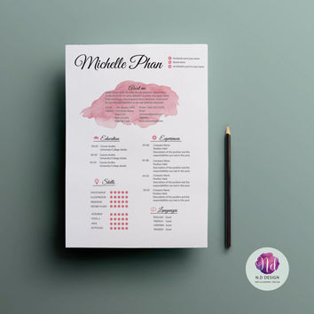 CV template, cover letter & reference letter template ( 2 color options )