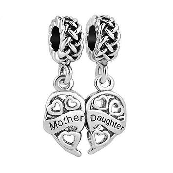 LuckyJewelry Heart Love Charms Dangle Bead Set ForTrollChamilia Charm Bracelet