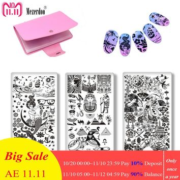 Mermaid Egypt Exotic Nail Art Stamping Plate DIY Nails Beauty Image Stamp Polish Plates Manicure Template Painting Tools 4PC/Set