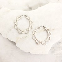 Sunflower Silver Hoop Earrings