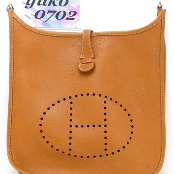 One-nice™ r58390 Auth HERMES Evelyne PMⅡCognac Epsom Leather Shoulder Bag □J 2006 SHW