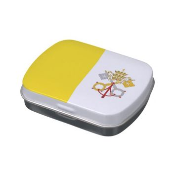 Patriotic candy tins with Flag of Vatican City