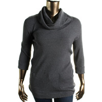 INC Womens Plus Ribbed Knit Cowl Neck Tunic Sweater