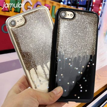 JAMULAR Bling Stars Shining Phone Cases for iPhone 8 6 6s 7 Plus Powder Sparkling Silicone Cover for iPhone 7 6 6s Case Fundas