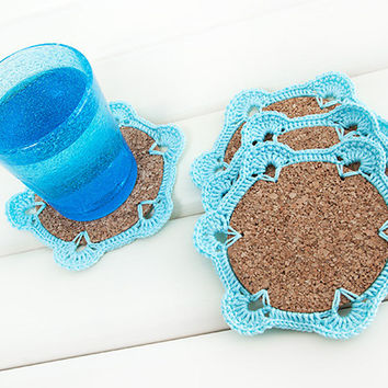 Crochet Coasters, Home Decor, Set of 4,  Blue, Cork base