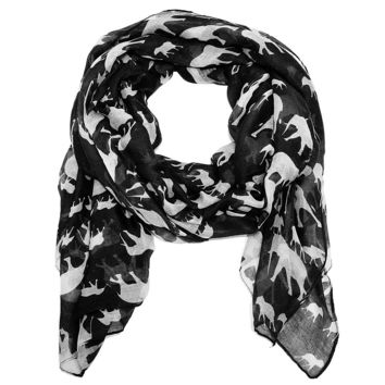 Cozy by LuLu - Trunk Up Elephant Scarf in Black and White