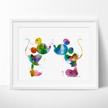 Mickey and Minnie Art Print, Kiss Poster, Disney Wall Art, Watercolor Art, Kids Art, Nursery Art,  Nursery Decor, Wall Art Print (277)