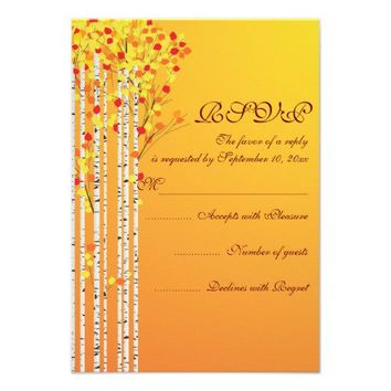 Birch trees in fall colors wedding RSVP response Custom Announcement from Zazzle.com