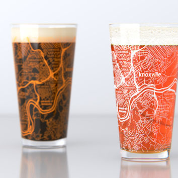 Knoxville, TN - University of Tennessee - College Town Map Pint Glass Set