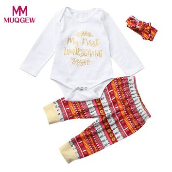 Fashion Thanksgiving Clothes Sets Newborn Infant Baby Boy Girl Letter Long Sleeve Romper Tops+Long Pants Autumn Outfits Set