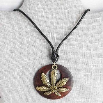 Wood and Cannabis Leaf Sweater Pendant