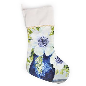 """Jennifer Rizzo """"Anemones In Vase"""" Blue Green Floral Nature Painting Illustration Christmas Stocking"""