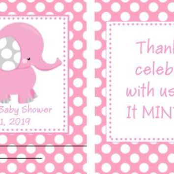 20 Pink Elephant Baby Shower Polka Dot Mint Favors