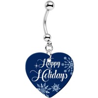 Happy Holidays Snowflake Heart Dangle Belly Ring