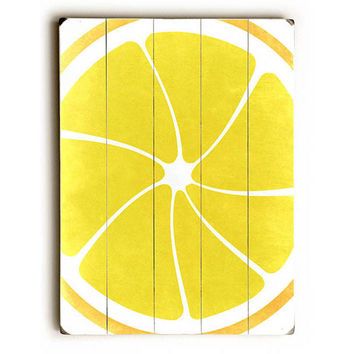 Lemon by Lotus Leaf Collection Wood Sign