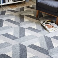 Matrix Wool Kilim Rug - Slate