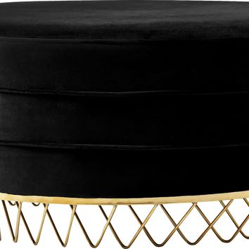 Revolve Black Velvet Ottoman/Coffee Table