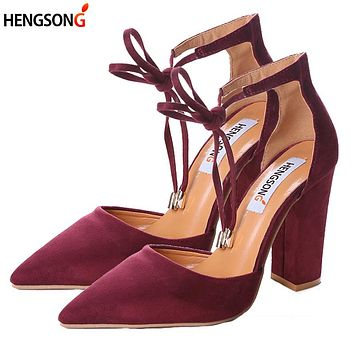 2017 High Heels Women's Sandals Spring Autumn Flock Shoes Woman Ladies Pumps Sexy Thin Air Heels Footwear Women Shoes Lace Up