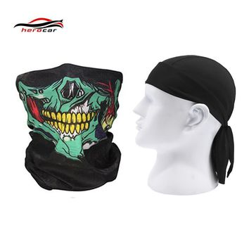 Skull Skulls Halloween Fall HEROBIKER 2 pieces Motorcycle Mask Balaclava  face shield Ghost Biker Maske Motor Windproof Caps Helmet Headwrap Bandana Calavera
