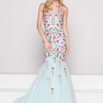 Colors Dress - 1843 Floral Accented Mermaid Dress