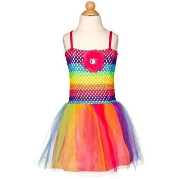 Girl's Crochet Rainbow & Tulle Dress