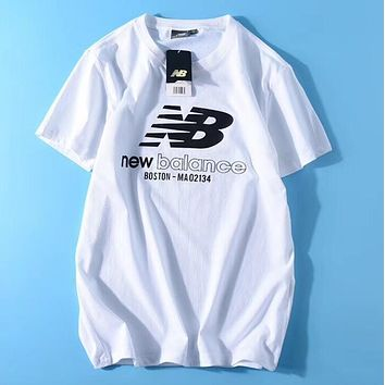 """New Balance"" Classic Fashion Women Men Leisure Short Sleeve Pure Cotton Sport T-Shirt Pullover Top Grey I13127-1"