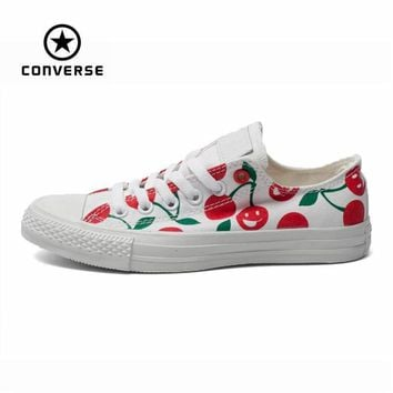 Original Converse all star shoes low women sneakers Hand-painted graffiti white canvas