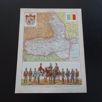 Map of Romania 1905 antique print about Rumania with old Romanian army uniforms and flags infantery uniform militaria pre WWI cavalry