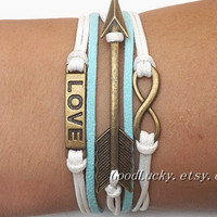 Unisex  simple fashion ancient bronze Infinite hope love and Arrow pendant white and green leather braided bracelet