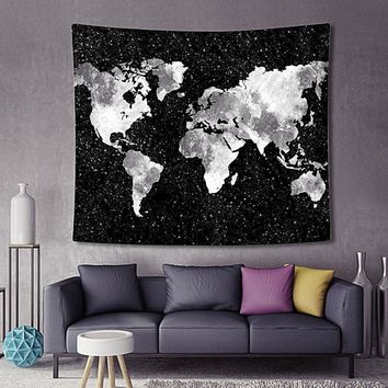 Starry Sky Black Map Boho Fabric Wall Tapestry