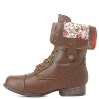 Bamboo Floral-Lined Fold-Over Combat Boots - Brown Combo
