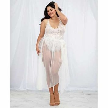 Stretch Lace Teddy & Sheer Mesh Maxi Skirt w/Adjustable Straps & G-String White 3X