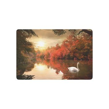 Autumn Fall welcome door mat doormat Swan on the Autmn River at Sunrise Anti-slip  Home Decor, Nature Fall Trees Indoor Outdoor Entrance  AT_76_7