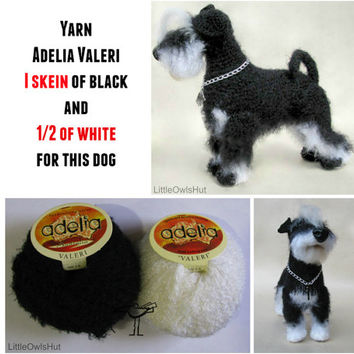 Adelia Valeri 1 skein of black and 1/2 of white yarn to Make Miniature Schnauzer