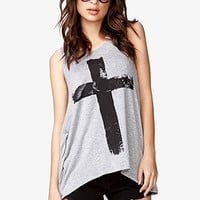 FOREVER 21 Layered Cross Graphic Top Heather Grey/Black