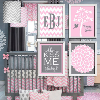 cheap baby girl bedding sets nursery black furniture crib uk pink gray tree print wall art bedroom