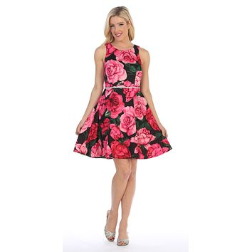 Fuchsia/Black Floral Print Short Homecoming Dress