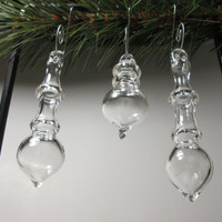 Christmas Glass Ornaments - Hand Blown - Set of 3