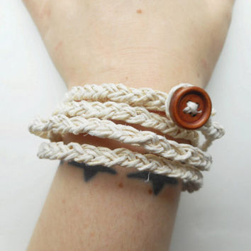 Braided Hemp Wrap Bracelet in White, ready to ship.
