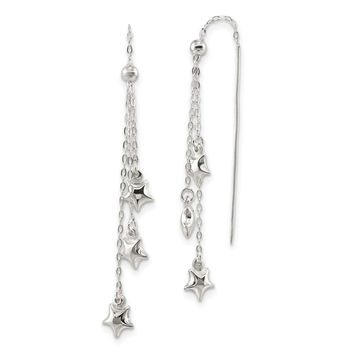 925 Sterling Silver Polished and Diamond-cut Star Beaded Threader Earrings