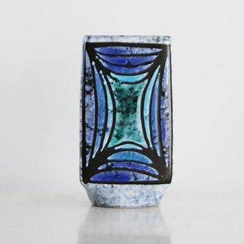 Mid Century East German Blue  Grey Rectangular Vase - VEB Haldensleben