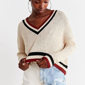 UO Kasey Striped Cropped Sweater | Urban Outfitters