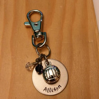 Hand Stamped Volleyball keychain - Girls Volleyball - Volleyball Team Gift - Team Colors