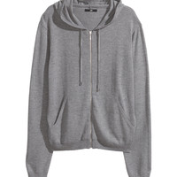 H&M - Fine-knit Hooded Jacket - Gray melange - Ladies