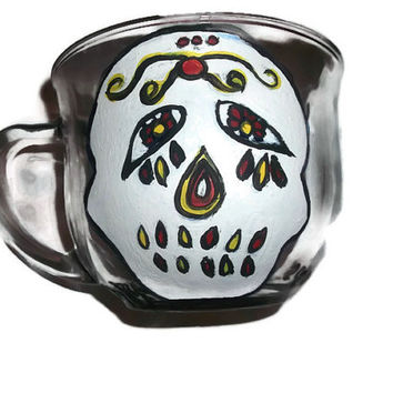 Halloween for Heroes Teacher Soup Tea Coffee Glass Mug with Hand Painted Sugar Skull and Skull With Cross Bones Free Shipping