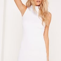 Missguided - High Neck Ribbed Dress White