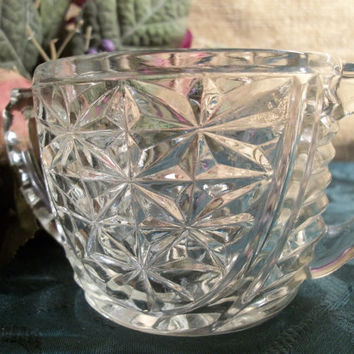 Vintage 1950's Clear Pressed Glass Sugar Bowl Anchor Hocking Art Deco Stars and Bars Thousand Line Pattern Handled Dish