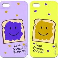 Status Update Cases - 2 pack - PP & J - PEANUT BUTTER AND JELLY SANDWICH- TWO FULL IPHONE CASES ONE TO KEEP ONE TO SHARE- Best Friend / Boy Friend Girl Friend - Includes: 2 Interchangeable BackPlates and 2 Bumper-->> Interchangeable Hard Plastic Case for i