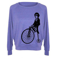Womens MONKEY On Penny Farthing Bicycle Sweatshirt Tri-Blend Raglan Pullover - American Apparel - S M and L (8 Color Options)